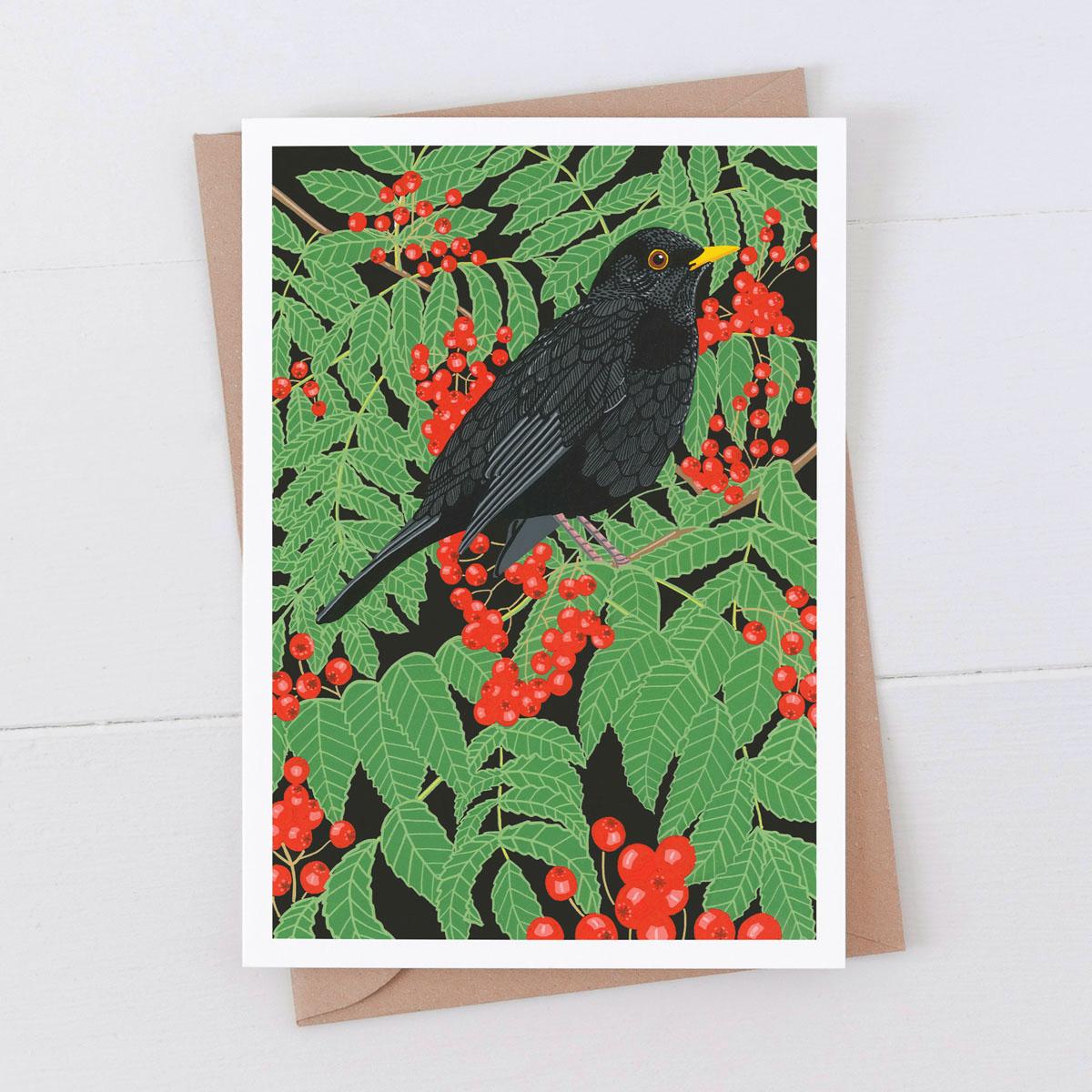 Blackbird Garden Bird Greeting Card