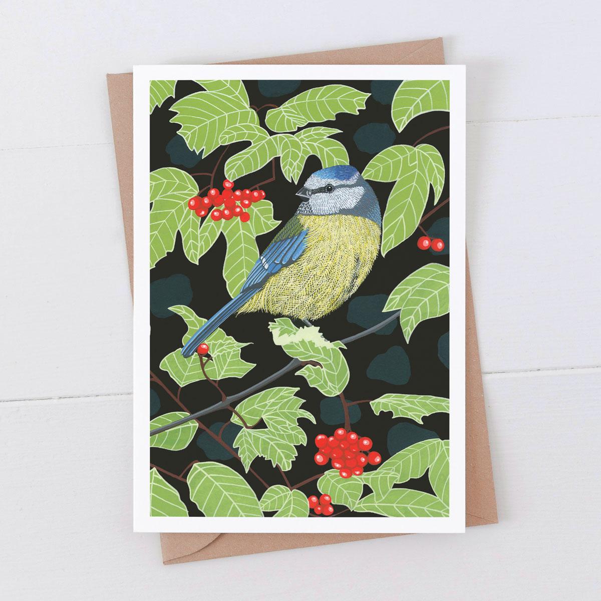 Blue Tit Garden Bird 7x5 Card