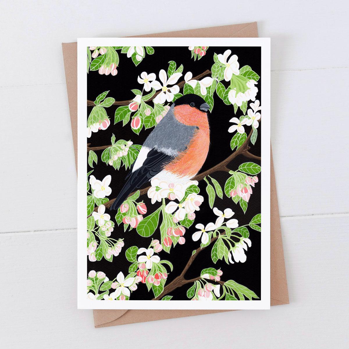 Bullfinch Garden Bird Greeting Card