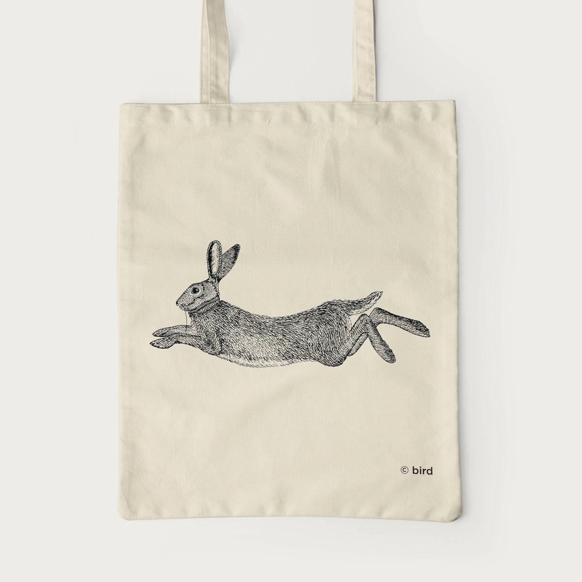 Hare Screen Printed Cotton Tote Bag