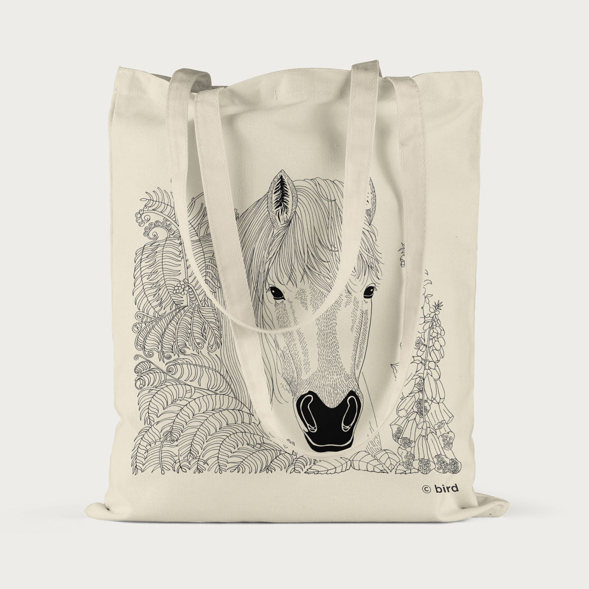 Horse Pony Screen Printed Cotton Tote Bag