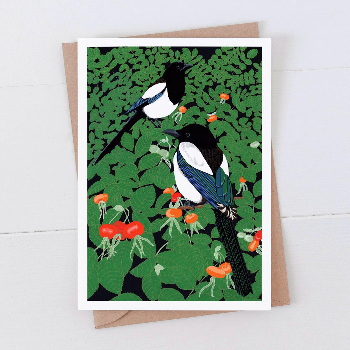 Magpies Garden Bird Greeting Card