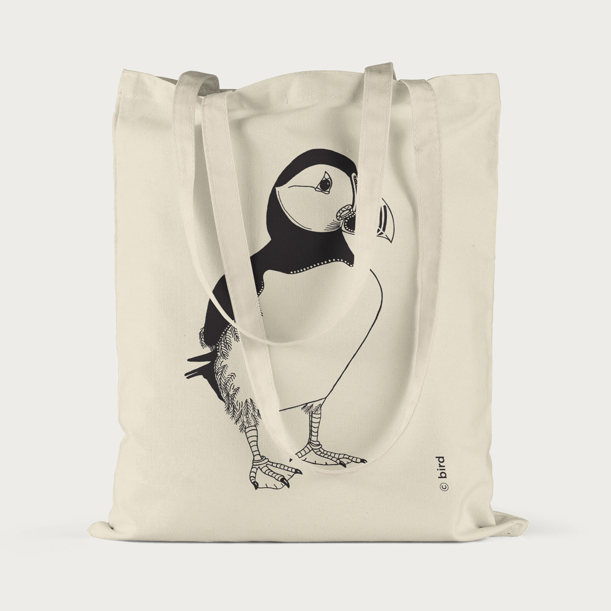Puffin Screen Printed Cotton Tote Bag