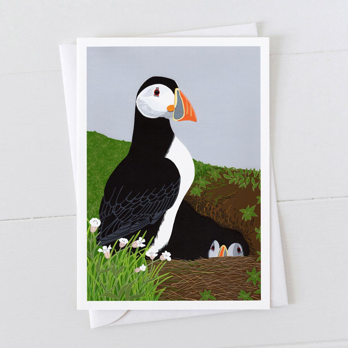 Puffin Burrow Coastal Bir Greeting Card