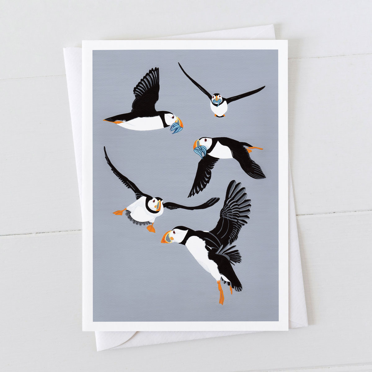 Puffins in flight Puffin Greeting Card