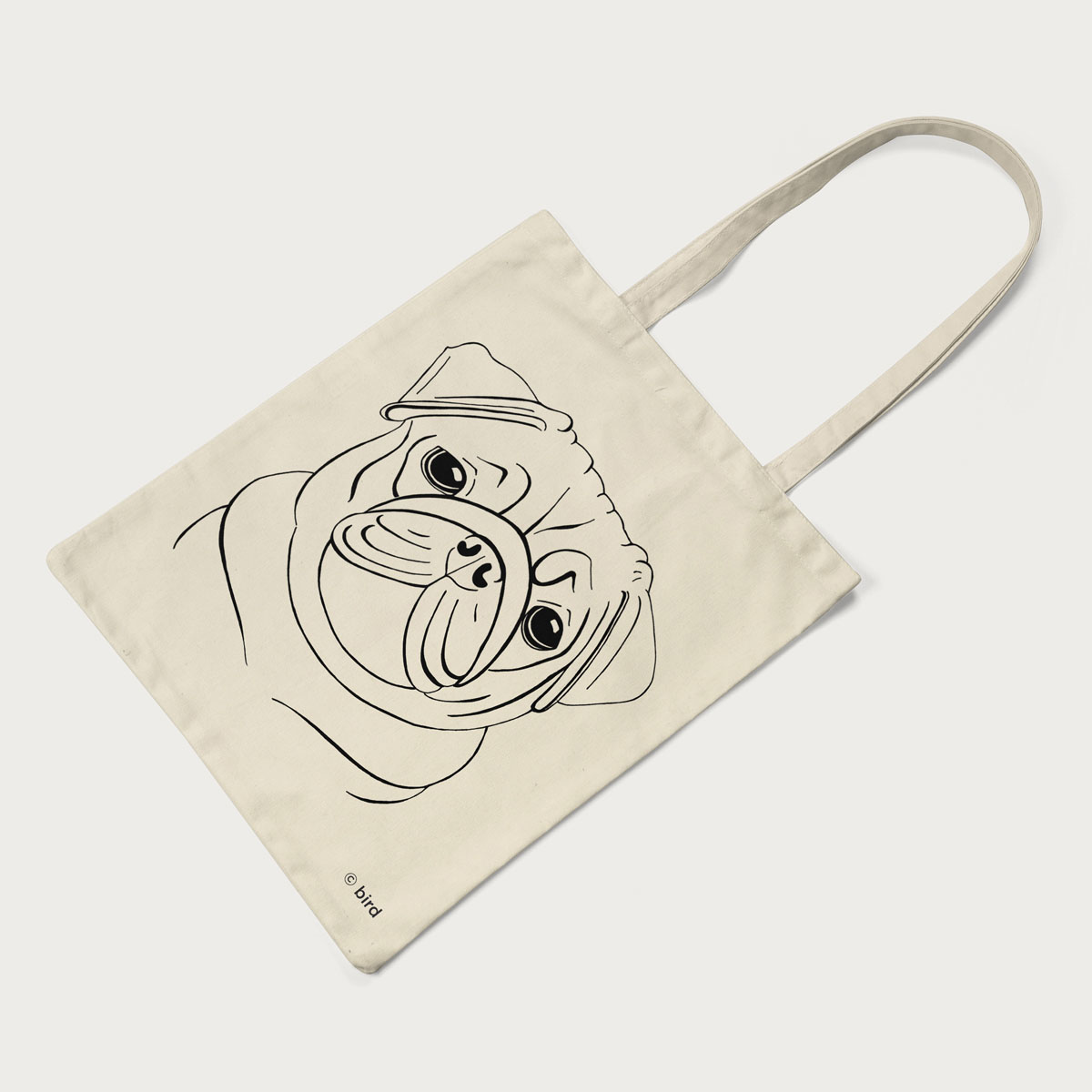 Pug Screen Printed Cotton Tote Bag