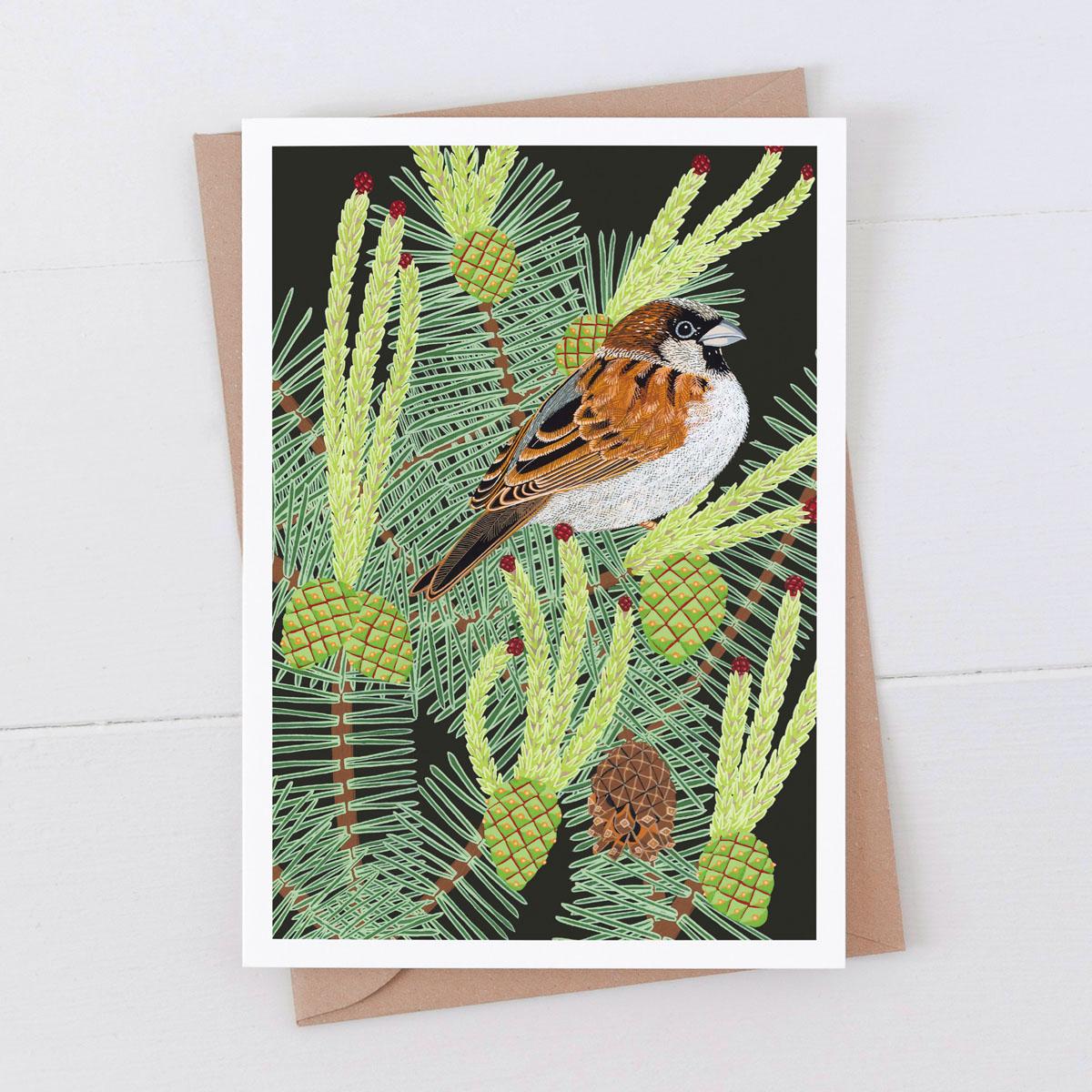 Sparrow Garden Bird Greeting Card