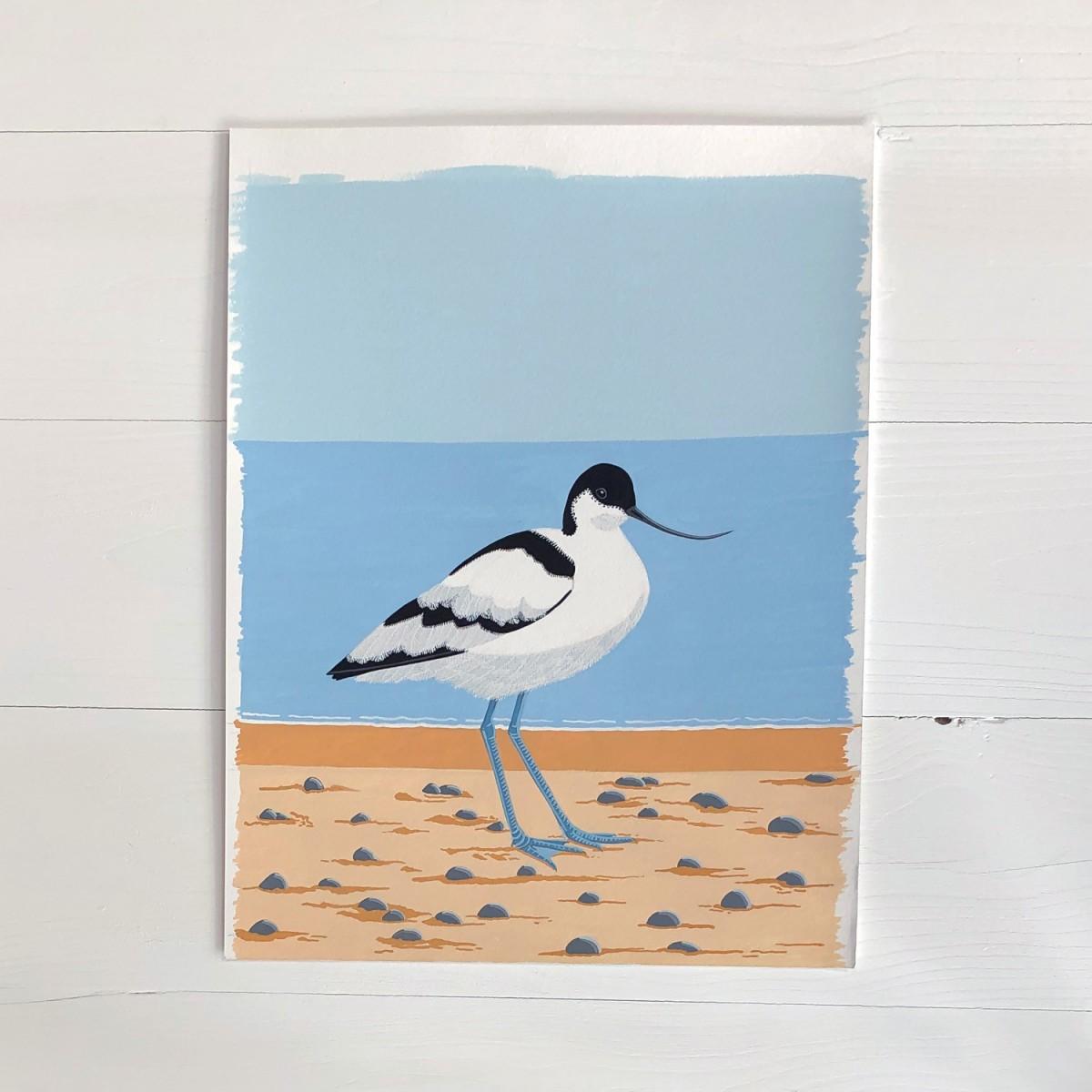 Avocet Sea Bird Original Gouache Painting By Bird The Artist