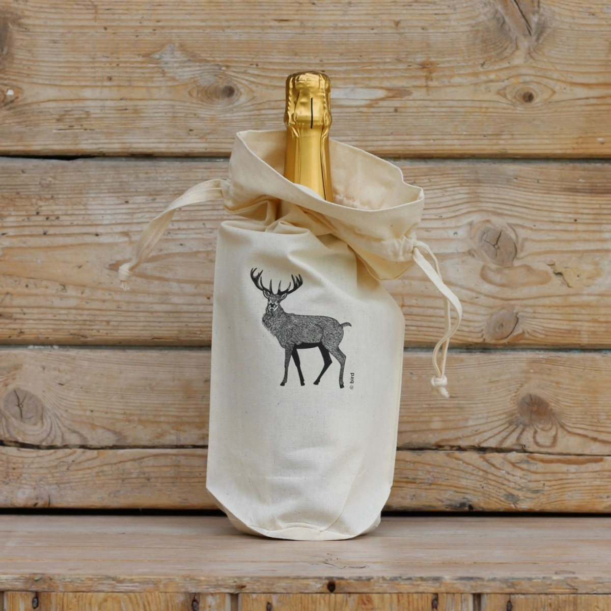 Red Stag Cotton Bottle Gift Bag