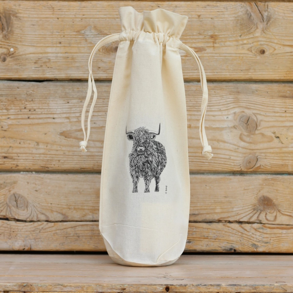 Highland Cow Cotton Bottle Bag