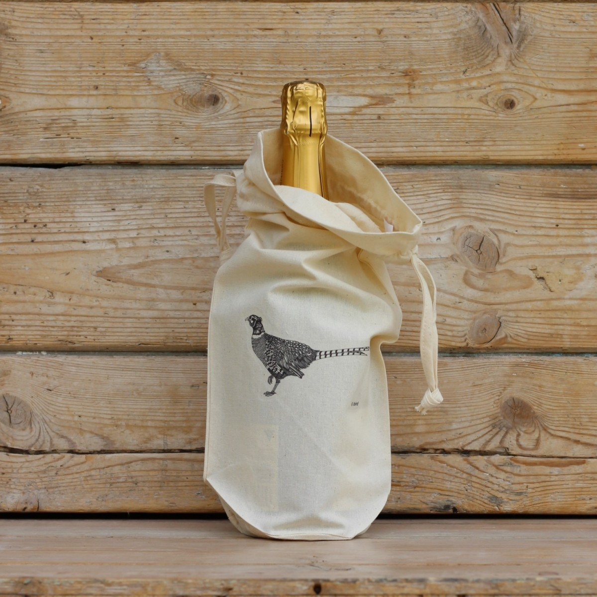 Pheasant Cotton Bottle Gift Bag