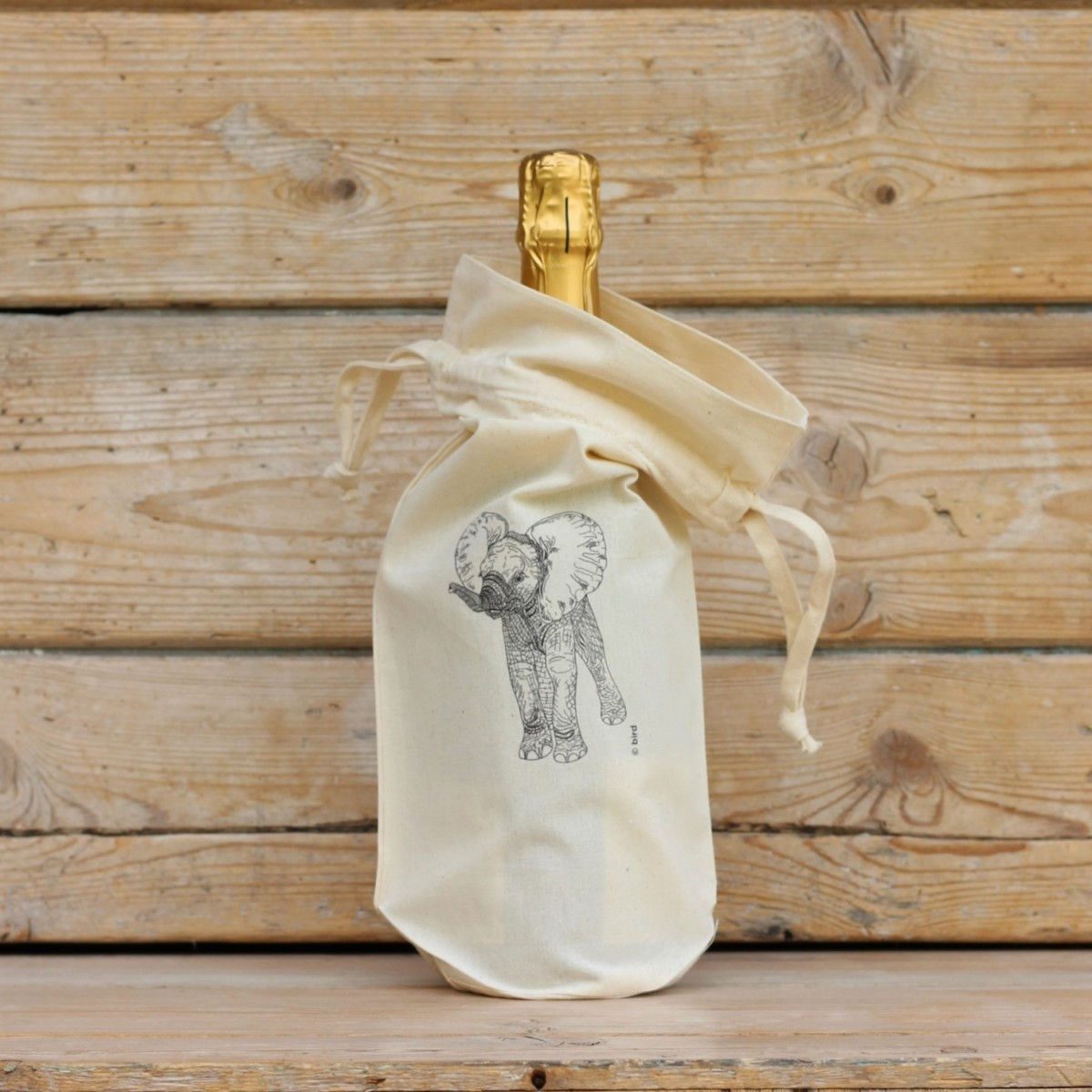 Elephant Cotton Bottle Gift Bag