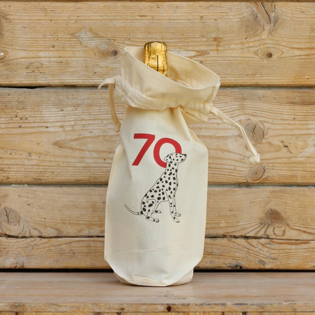 Age Seventy Cotton Bottle Gift Bag