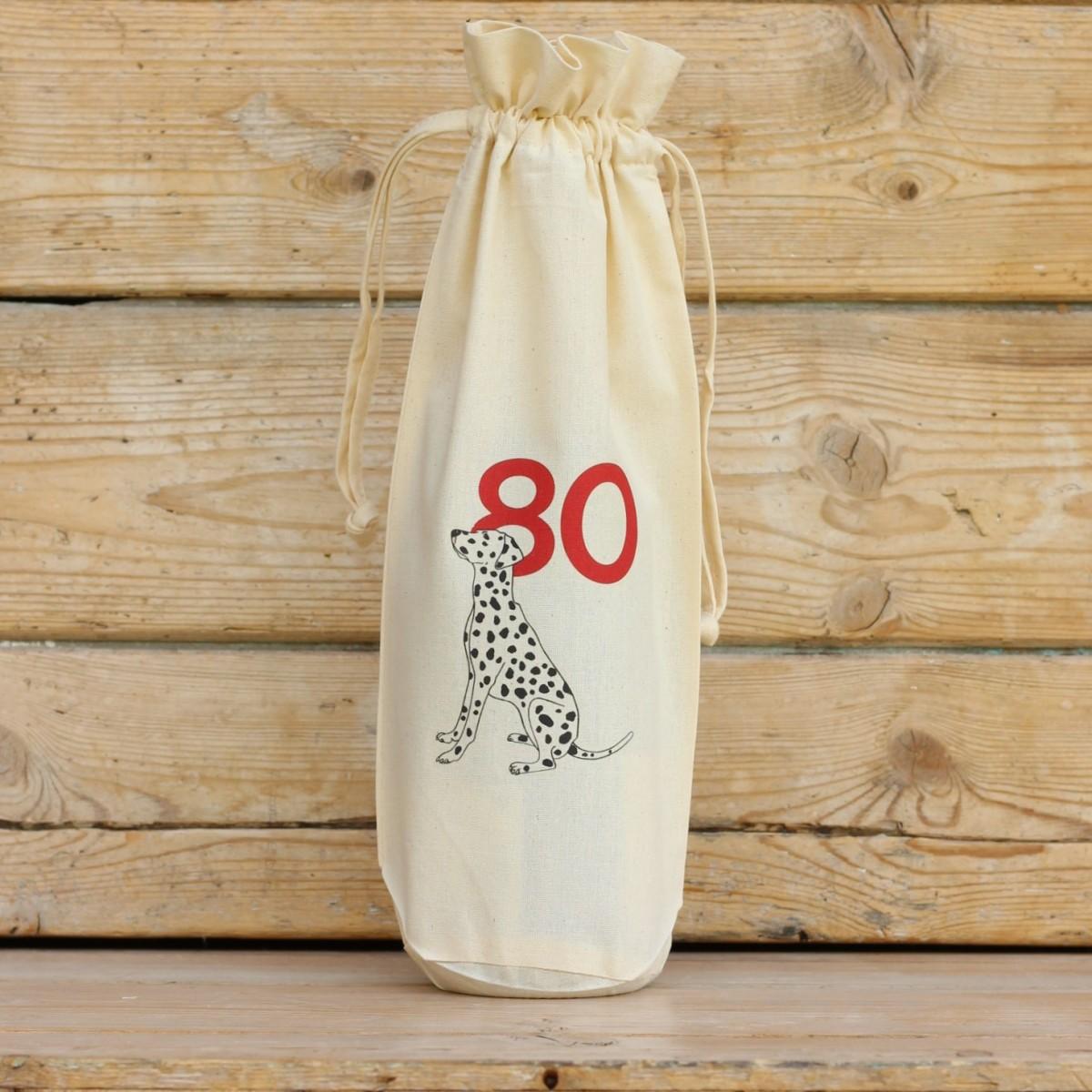 Age Eighty Cotton Bottle Gift Bag