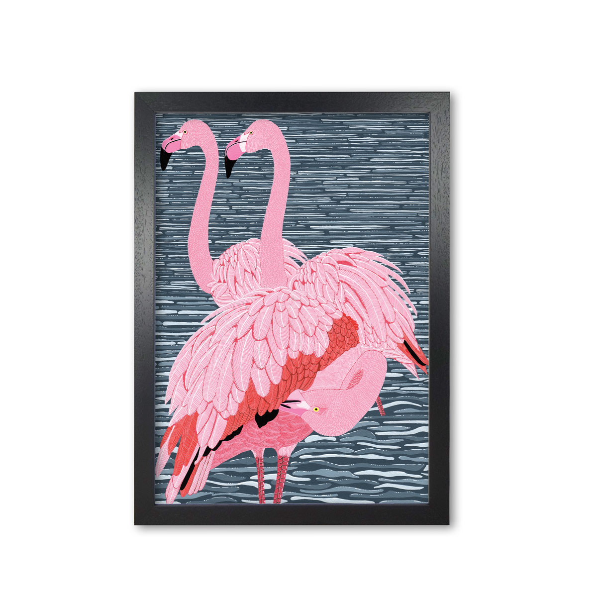 Flamingo Trio Art Print Mounted And Framed By Bird The Artist