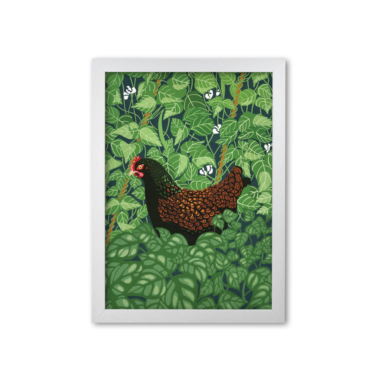 Hen In The Beans Chicken Art Print by Bird The Artist