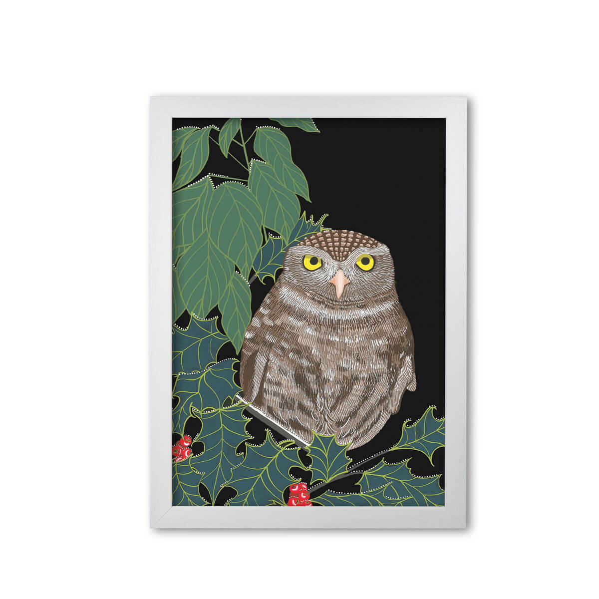 Little Owl Print Mounted And Framed By Bird The Artist