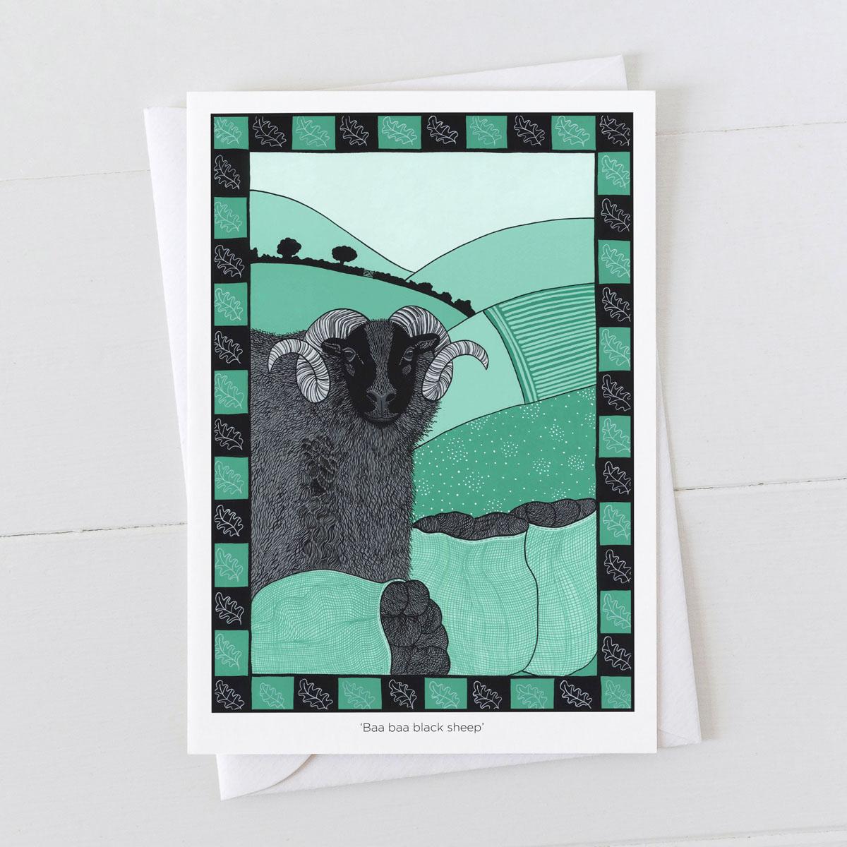 Baa Baa Black Sheep Nursery Rhyme Greeting Card