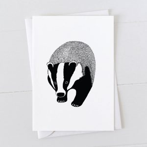 Badger Pen And Ink Drawing Greeting Card