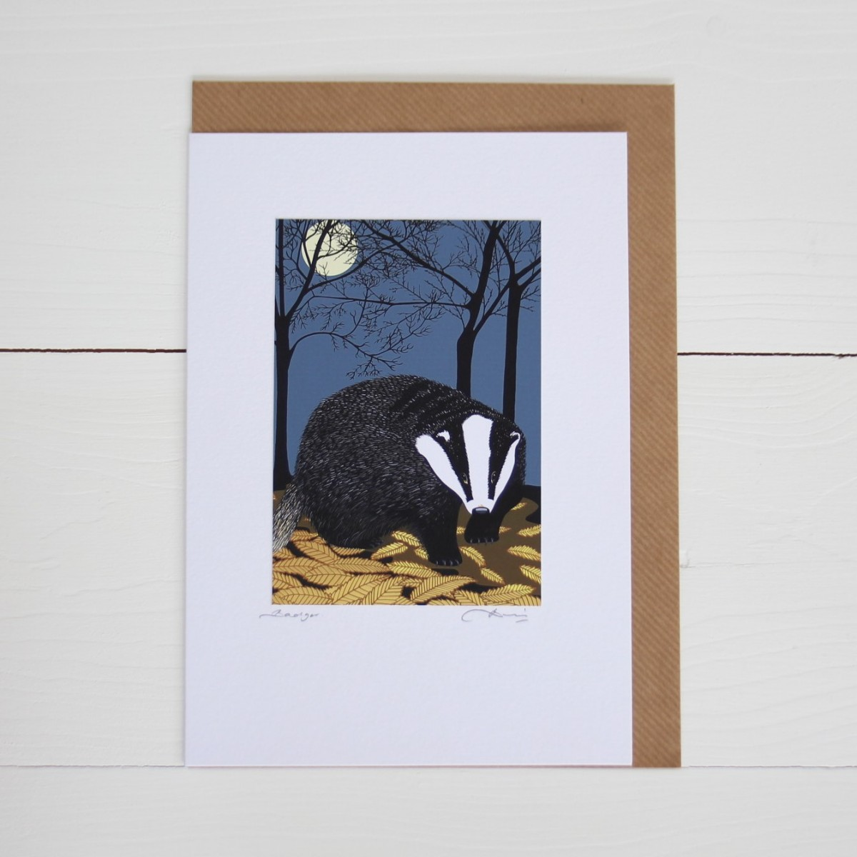 Badger Handmade Hand Titled And Signed Greeting Card A5