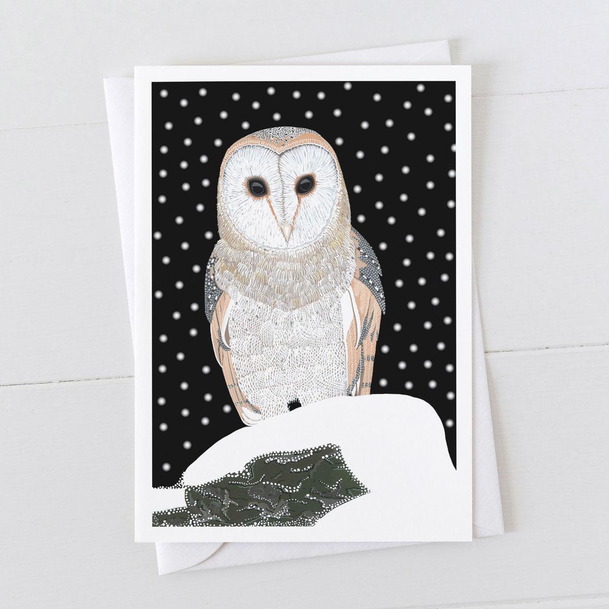 Barn Owl Bird in Snow Christmas Greeting Card