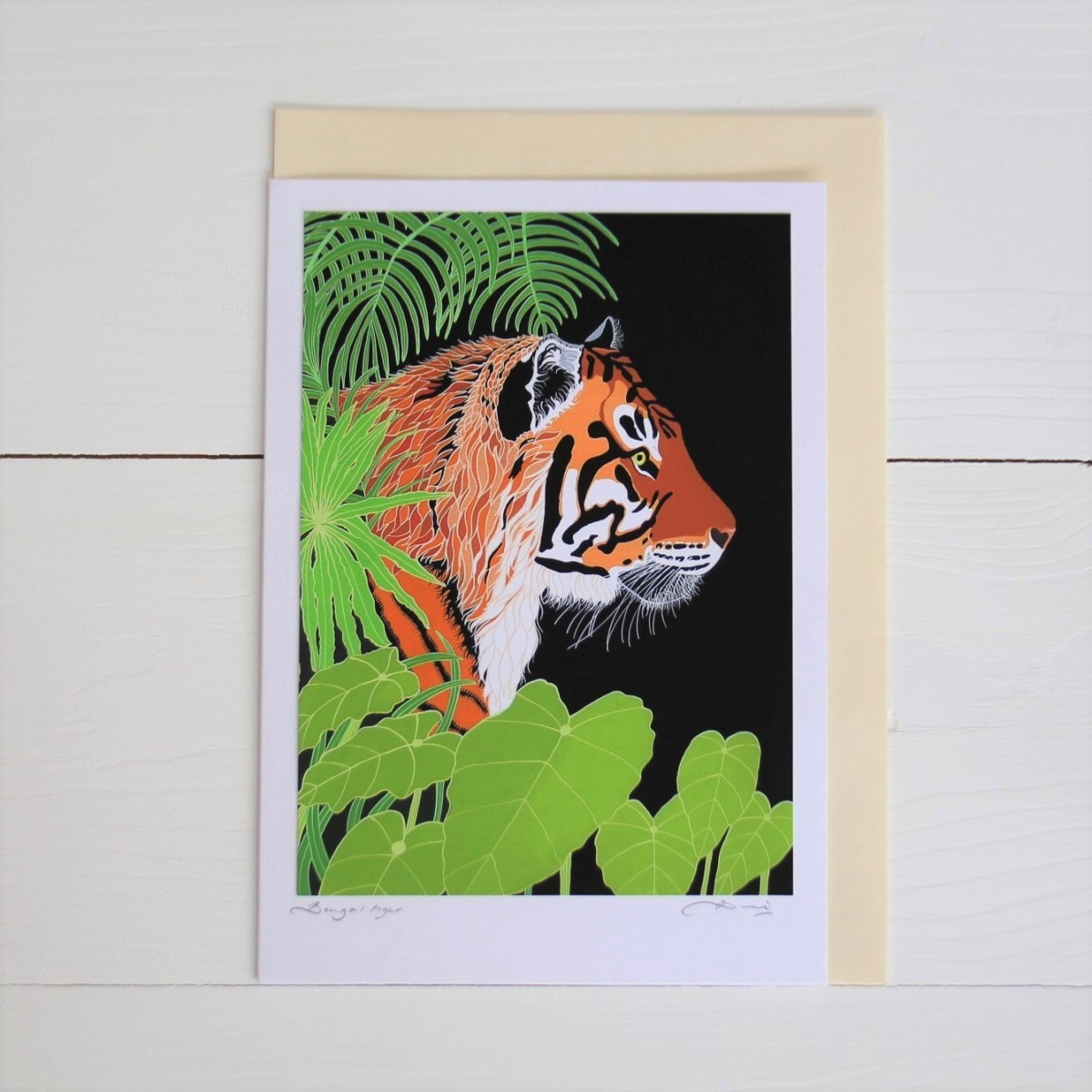 Bengal Tiger Handmade Hand Titled And Signed Greeting Card A5