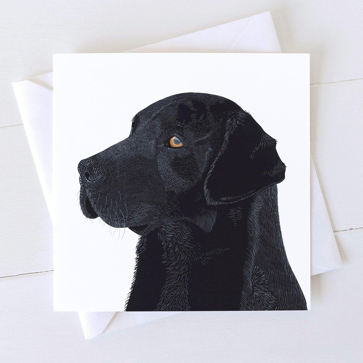 Black Labrador Square Greeting Card