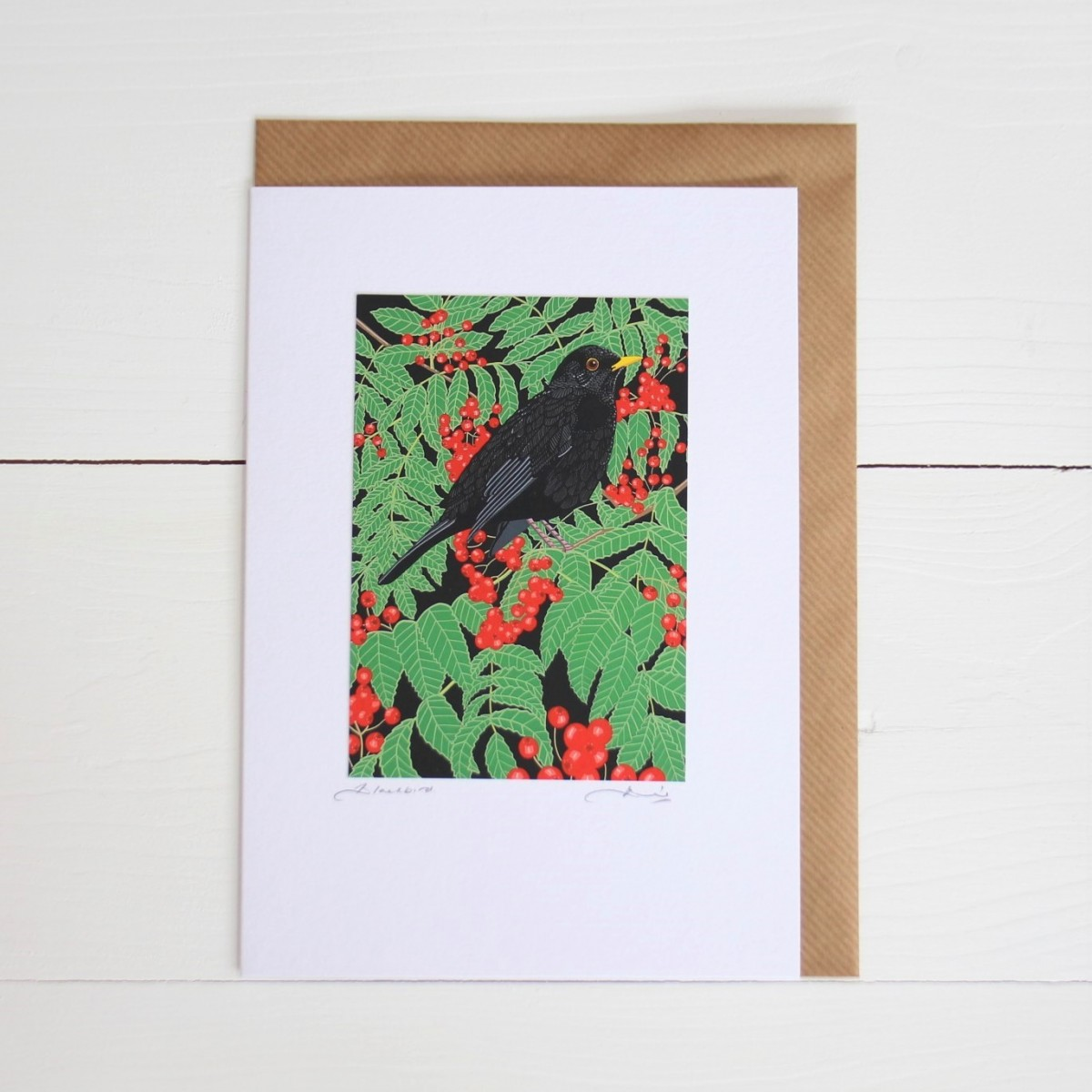 Blackbird Bird Flower Handmade Hand Titled And Signed Greeting Card A5