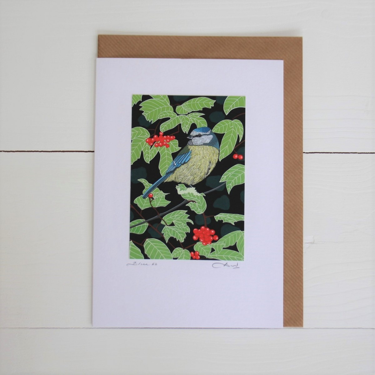 Blue Tit Bird Flower Handmade Hand Titled And Signed Greeting Card A5