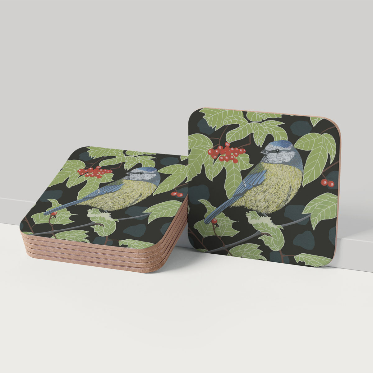 Blue Tit Bird Placemat And Coaster Tableware