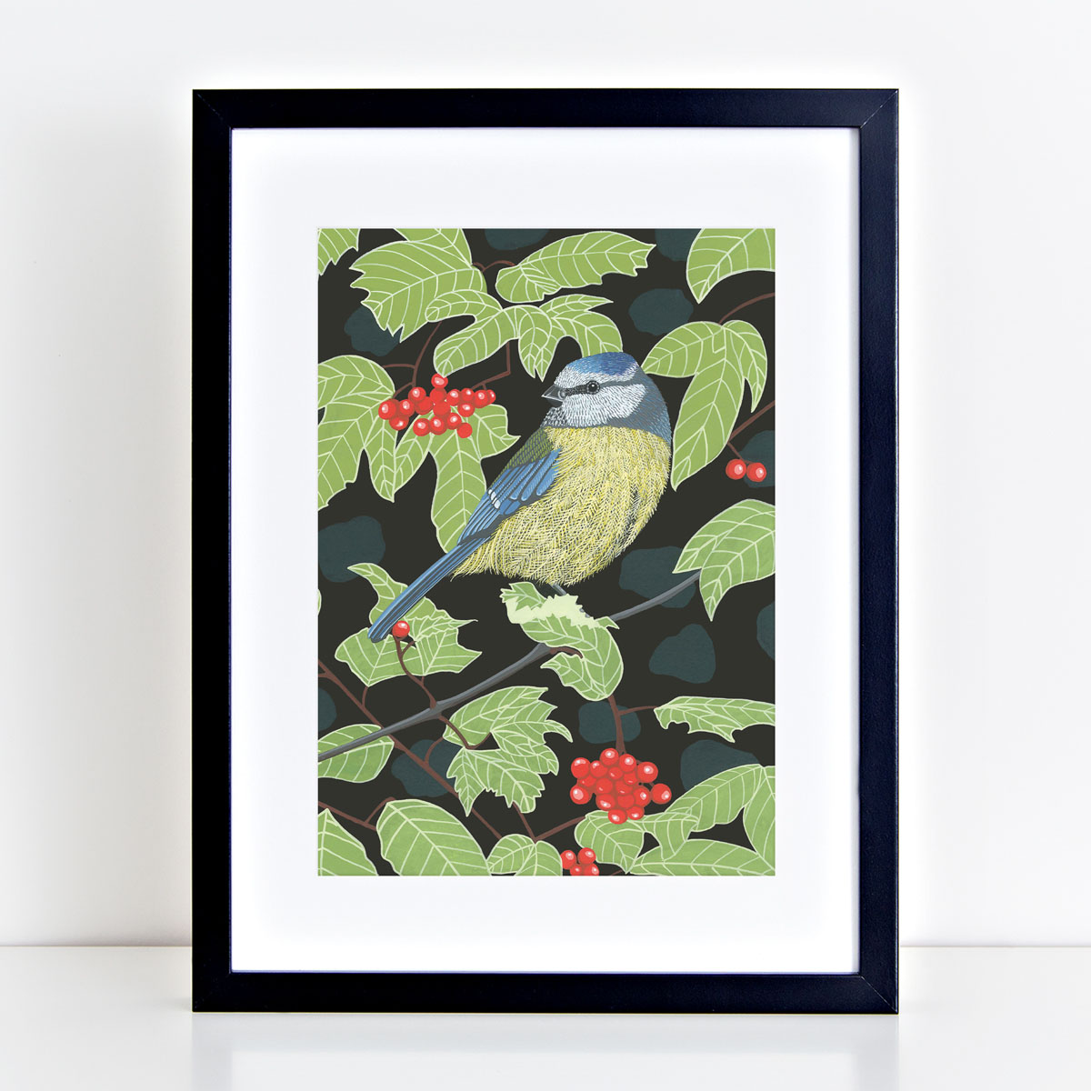 Blue Tit Garden Bird Mounted And Framed Print