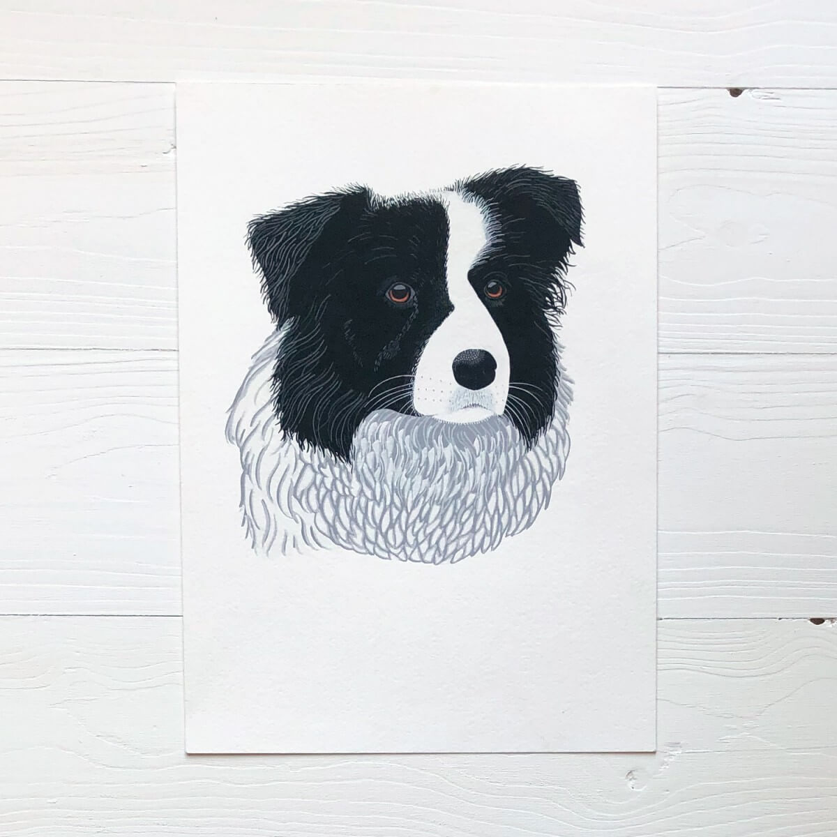 Border Collie Dog Original Gouache Painting By Bird