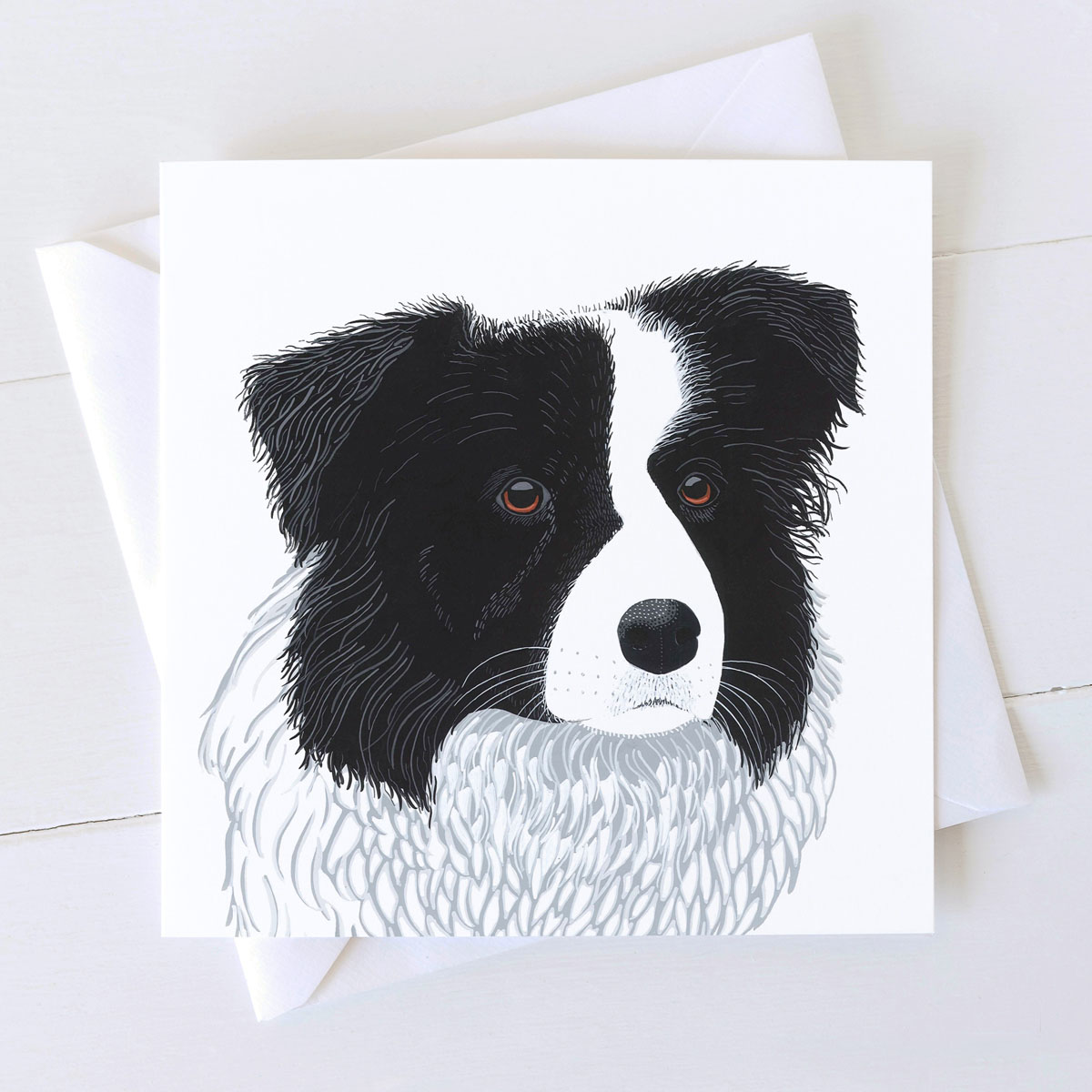 Border Collie Dog Square Greeting Card