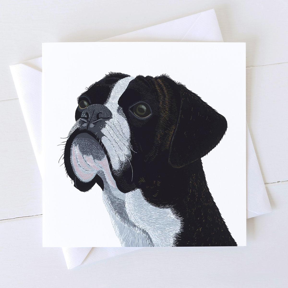 Boxer Dog Square Greeting Card