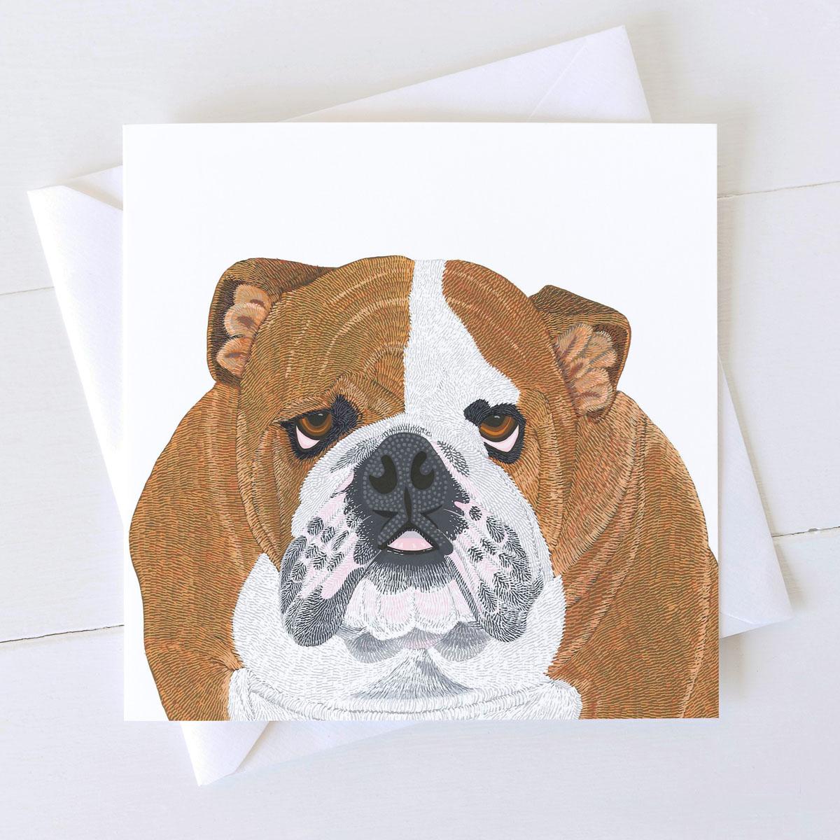 Bulldog Dog Square Greeting Card