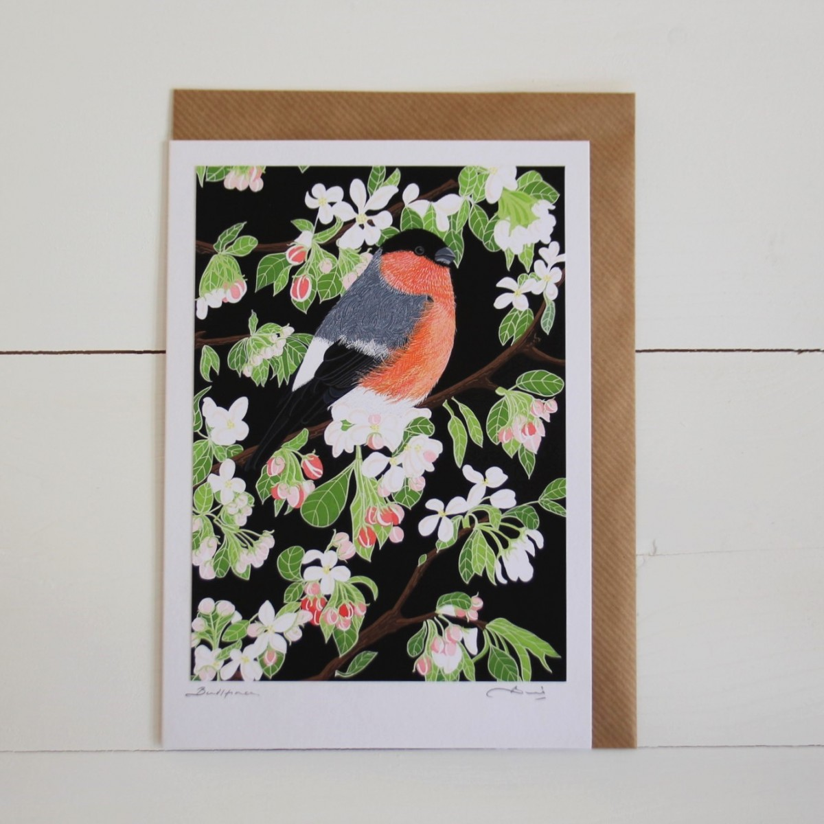 Bullfinch Bird Flower Handmade Hand Titled And Signed Greeting Card A5