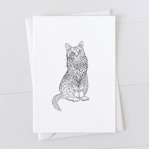 Cat Pen And Ink Drawing Greeting Card