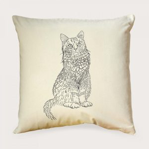 Cat Illustration Print Cushion Cover