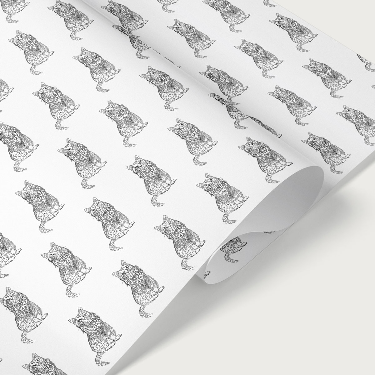 Cat Black & White Gift Wrap