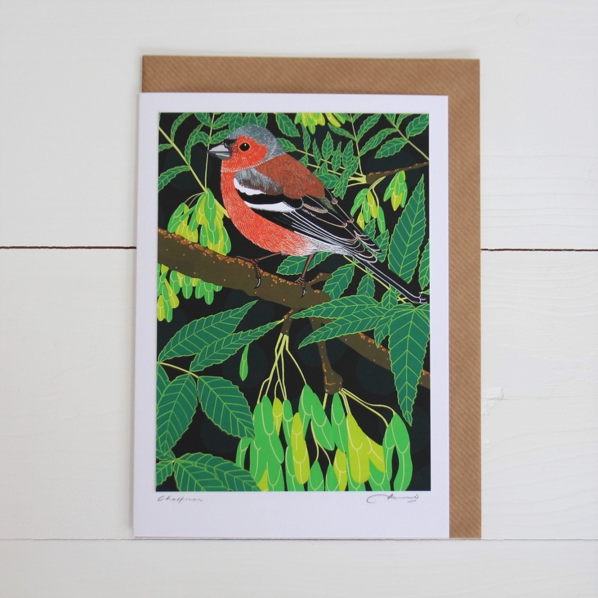 Chaffinch Bird Flower Handmade Hand Titled And Signed Greeting Card A5