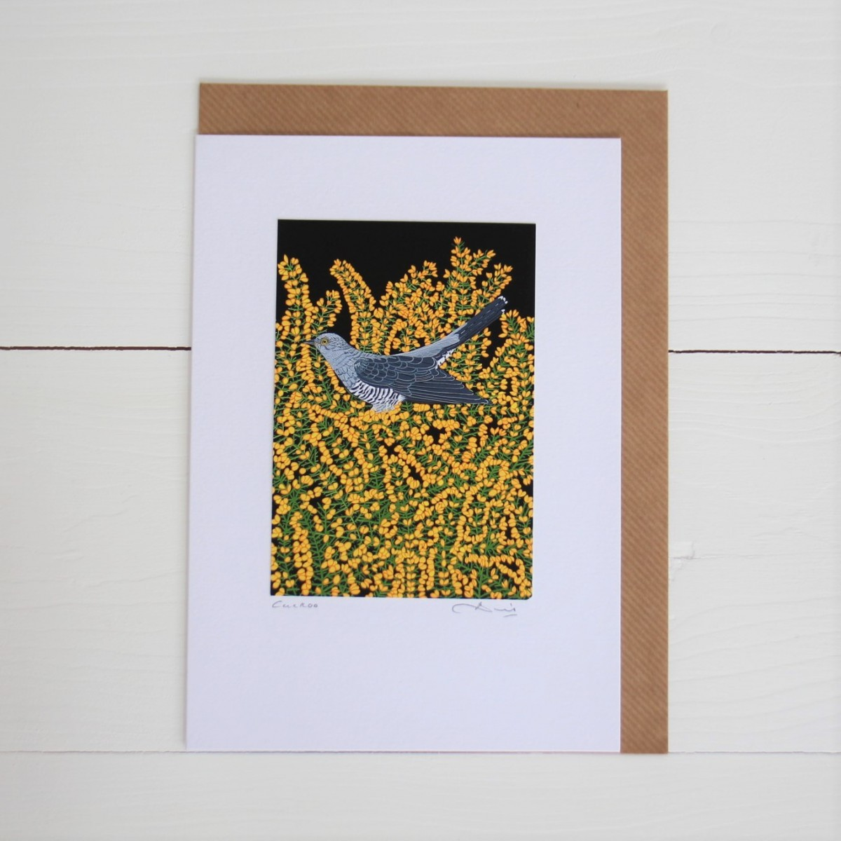 Cuckoo Bird Flower Handmade Hand Titled And Signed Greeting Card A5