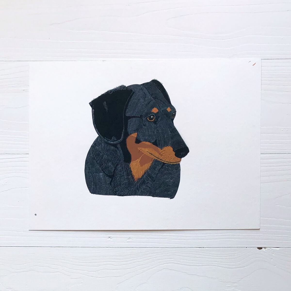 Dachshund Dog Original Gouache Painting By Bird