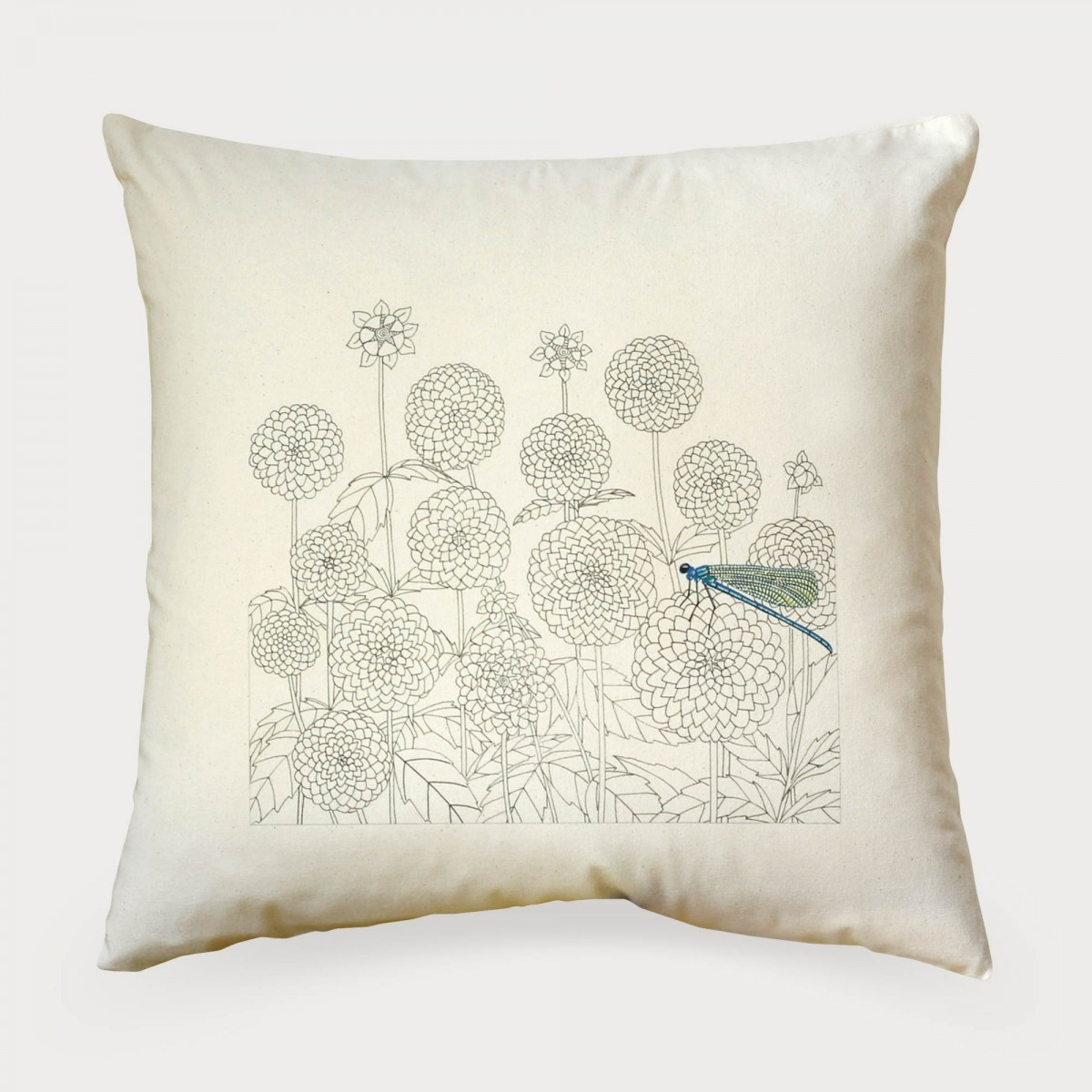 Dahlias And Dragon Fly Flower Floral Cushion Cover