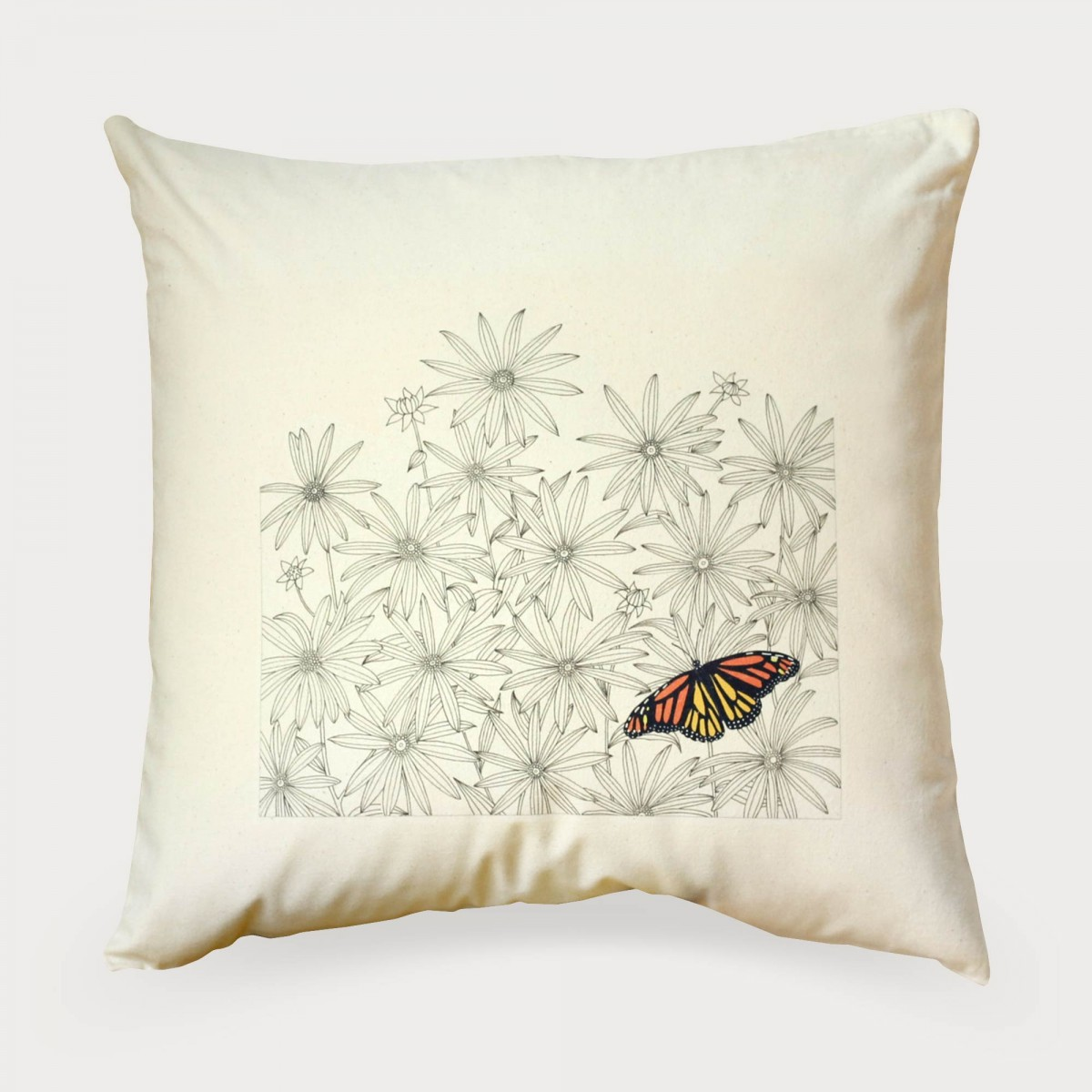 Daisies And Butterfly Flower Floral Cushion Cover
