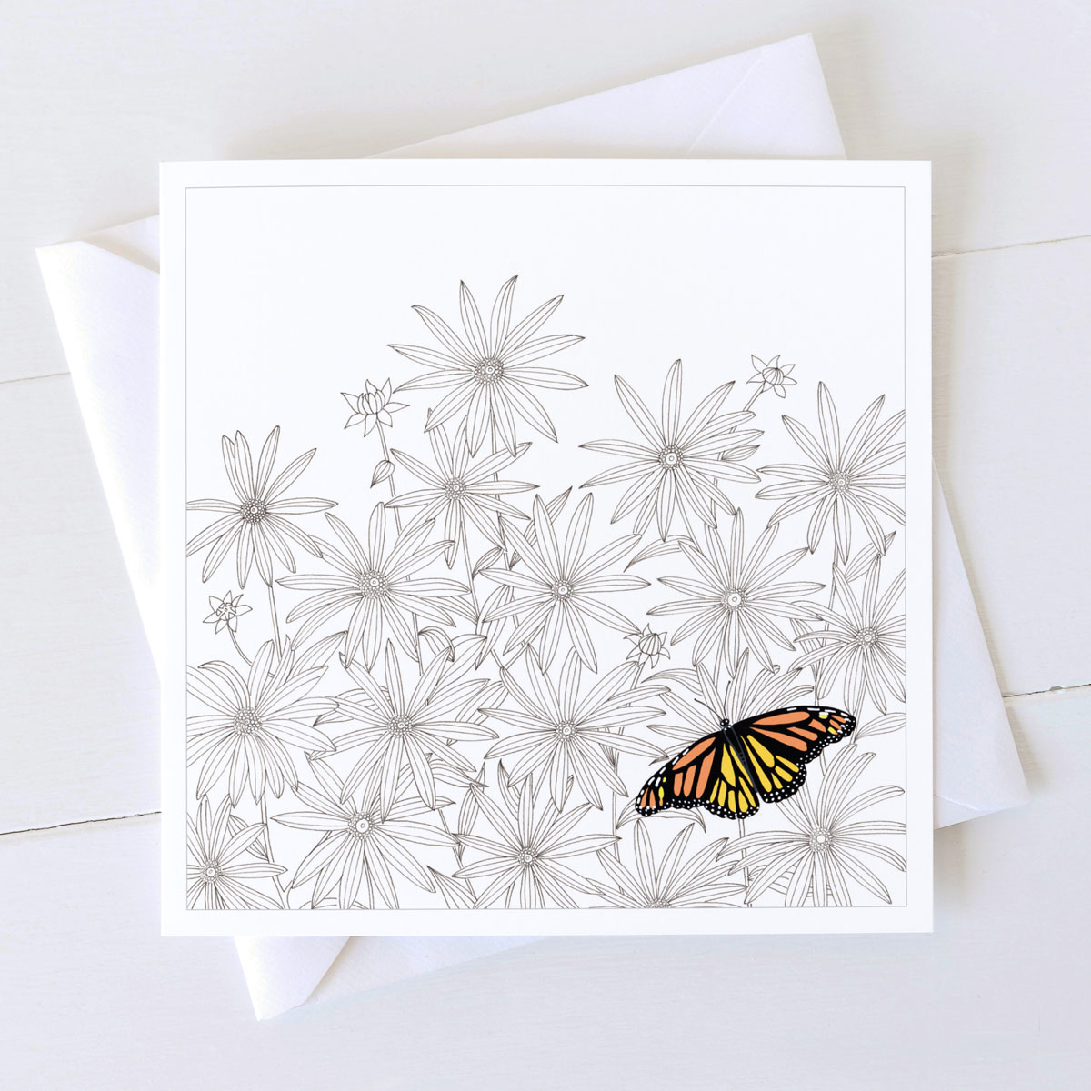 Daisies Flowers With Butterfly Greeting Card