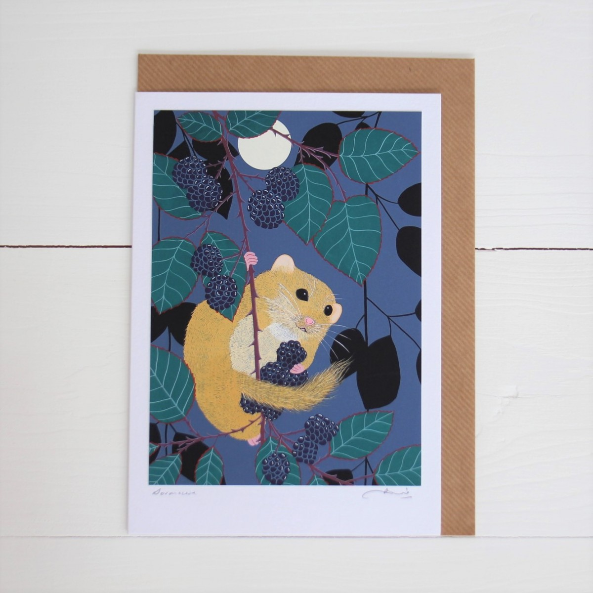 Dormouse Handmade Hand Titled And Signed Greeting Card A5