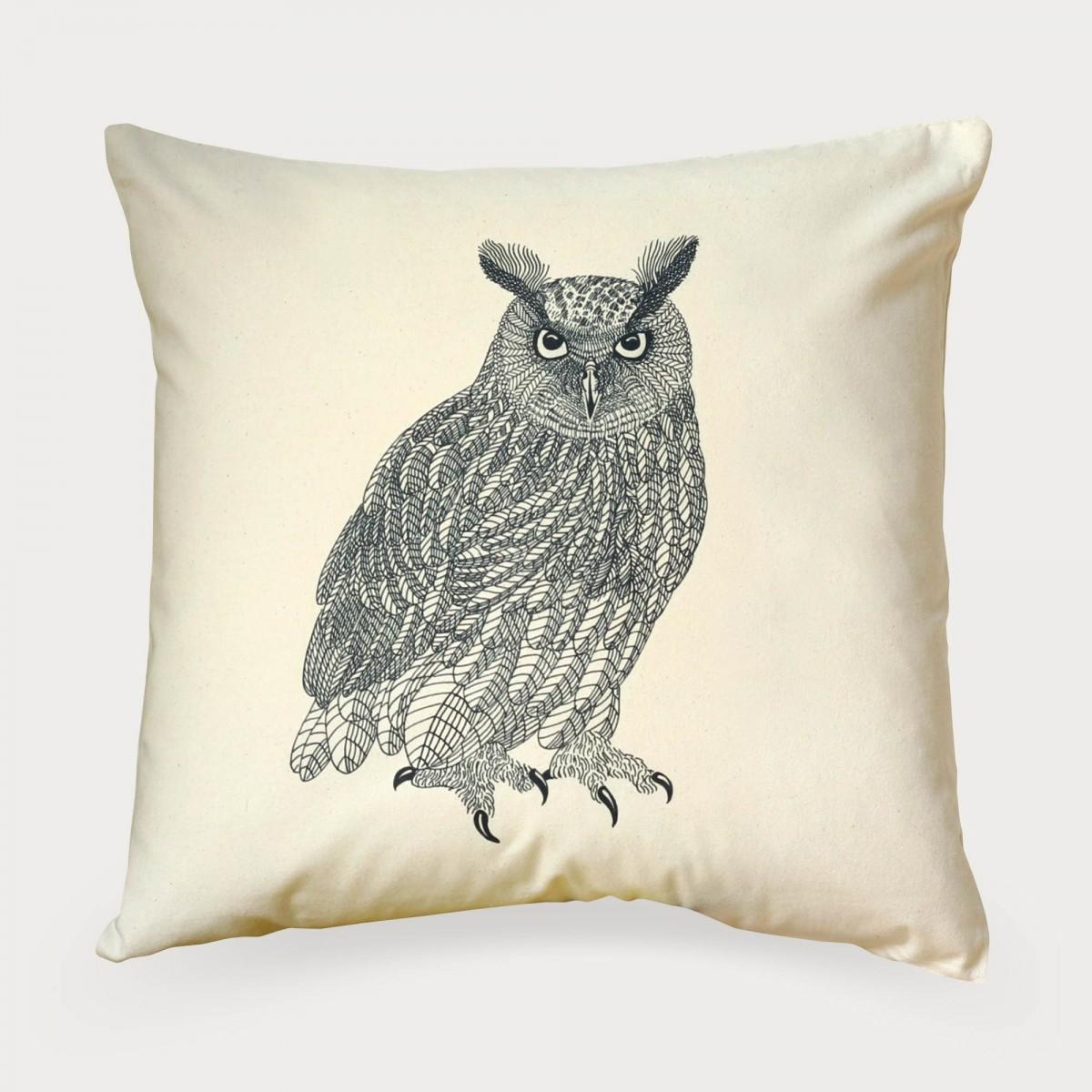 Eagle Owl Print Cushion Cover