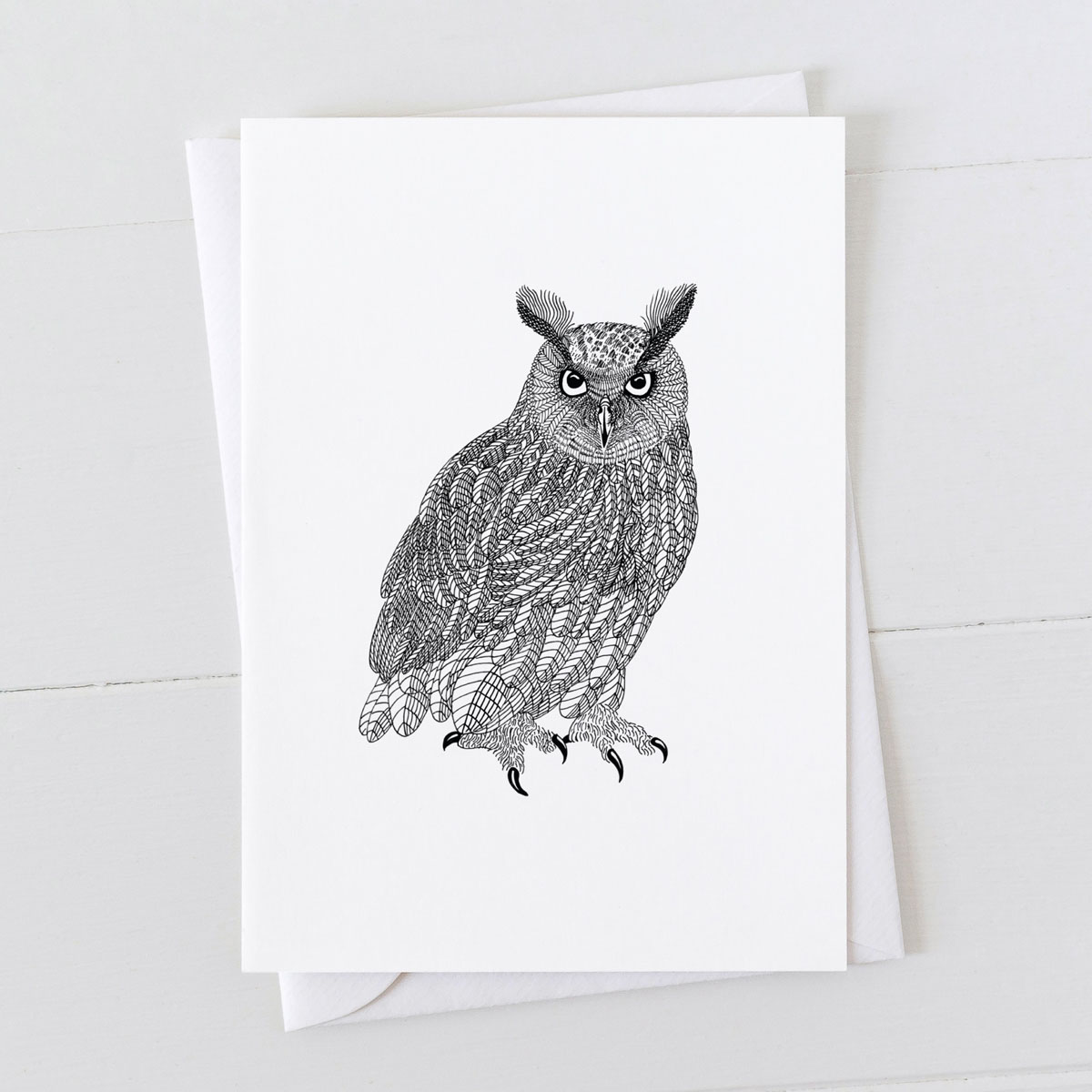 Eagle Owl Pen And Ink Drawing Greeting Card