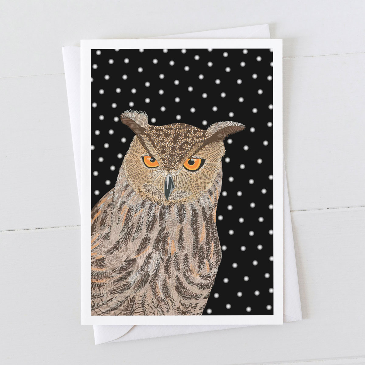 Eagle Owl Bird in Snow Christmas Greeting Card