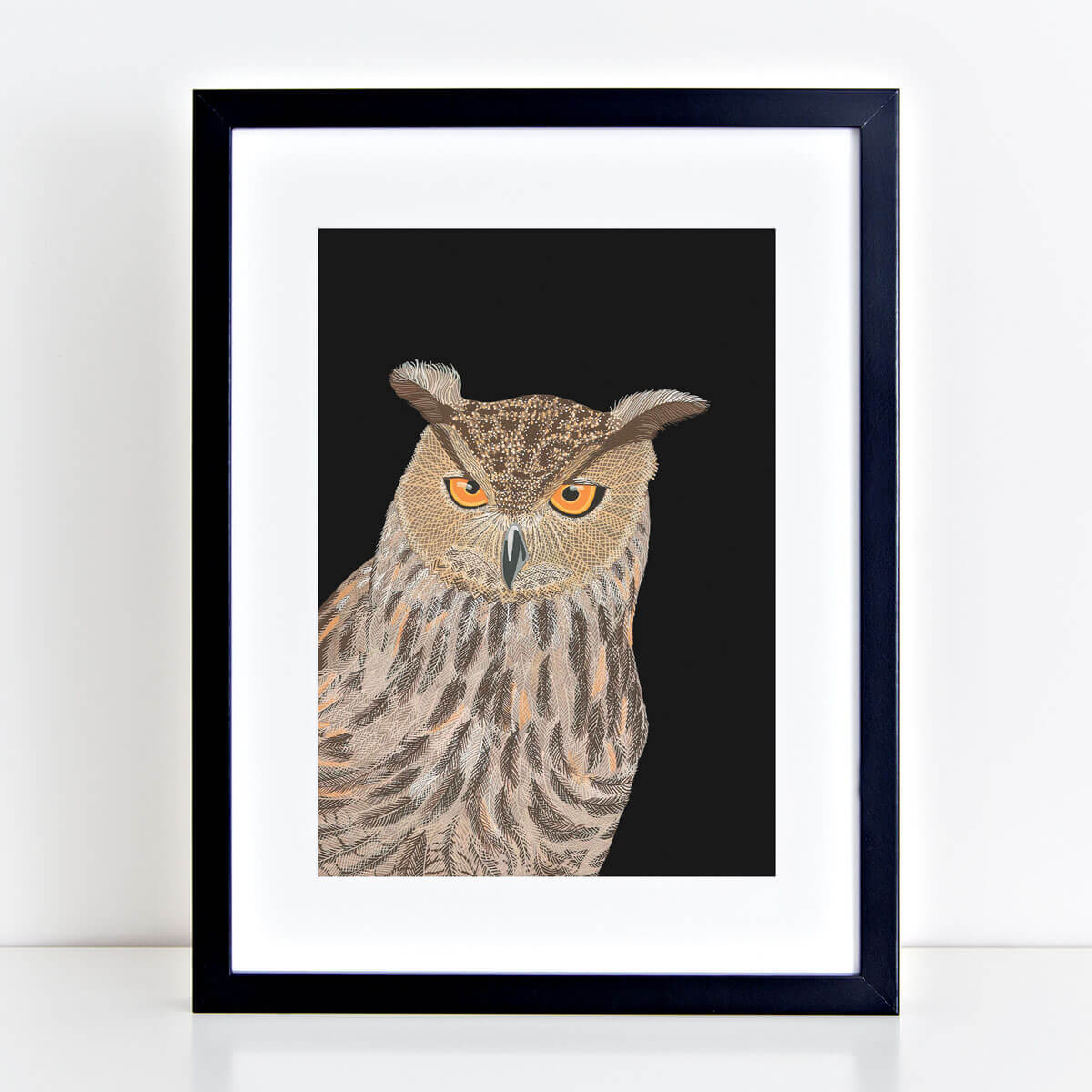 Eagle Owl Print Mounted And Framed By Bird The Artist